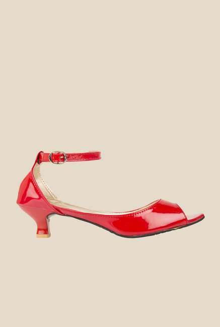 Solester Red Ankle Strap Sandals