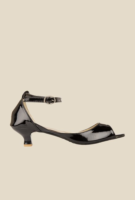 Solester Black Ankle Strap Sandals