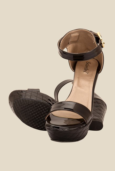 Solester Black Ankle Strap Wedges