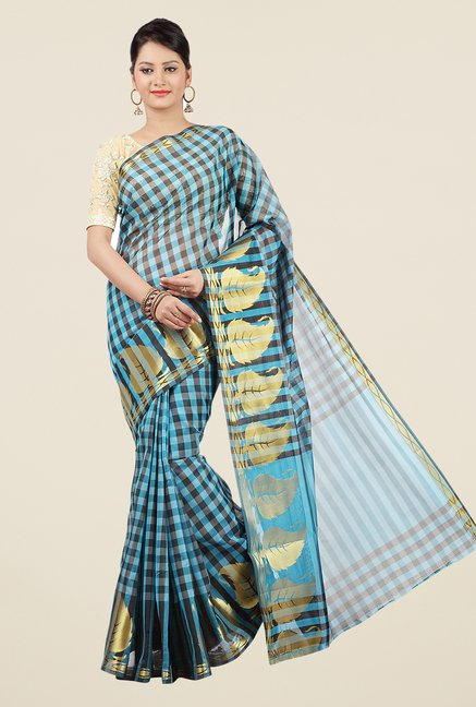 Jashn Turquoise & Black Checks Saree