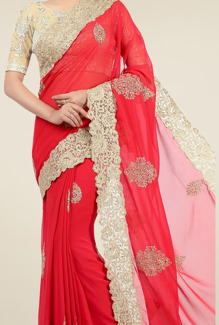 Jashn Red & Beige Embroidered Georgette Saree