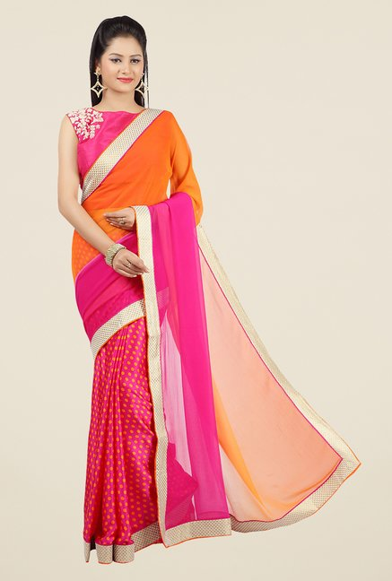 Jashn Pink & Orange Polka Dots Chiffon Saree