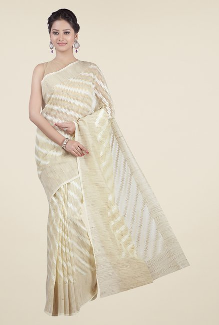 Jashn Beige & Off White Geometric Print Saree