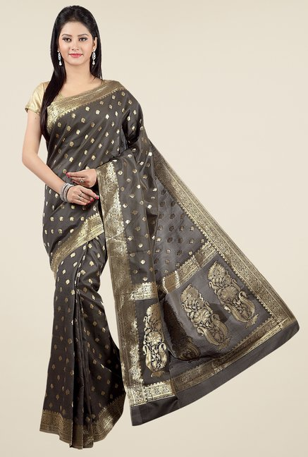 Jashn Grey Block Print Silk Saree