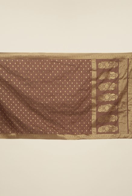 Jashn Coffee Block Print Silk Saree