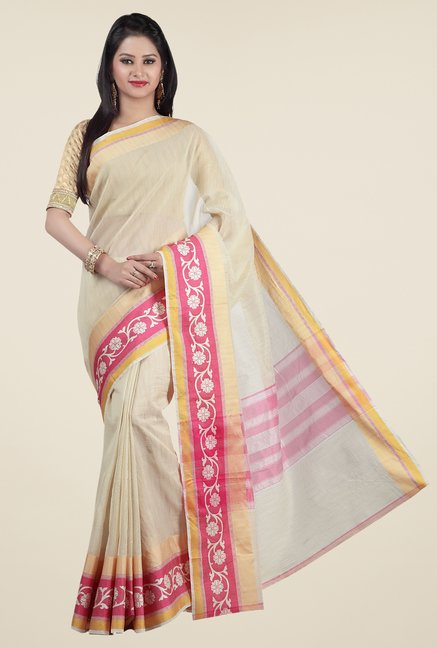 Jashn Beige & Pink Striped Saree