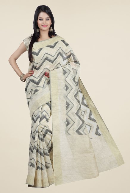 Jashn Beige & Grey Geometric Print Saree
