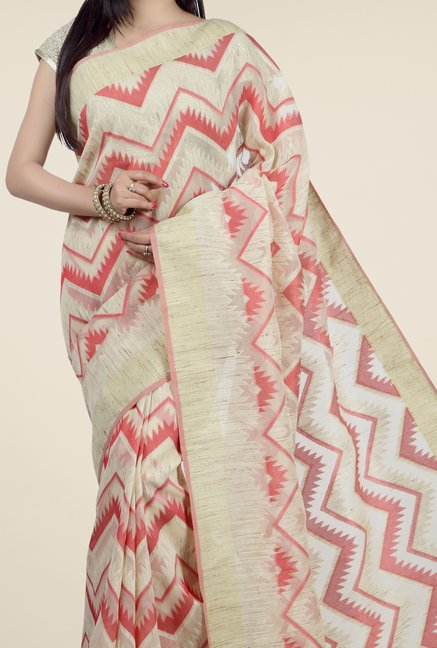 Jashn Beige & Red Geometric Print Saree