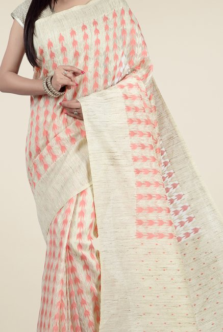 Jashn Beige & Peach Printed Saree