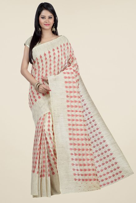 Jashn Beige & Red Printed Saree