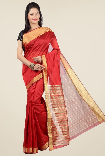 Jashn Red Solid Saree
