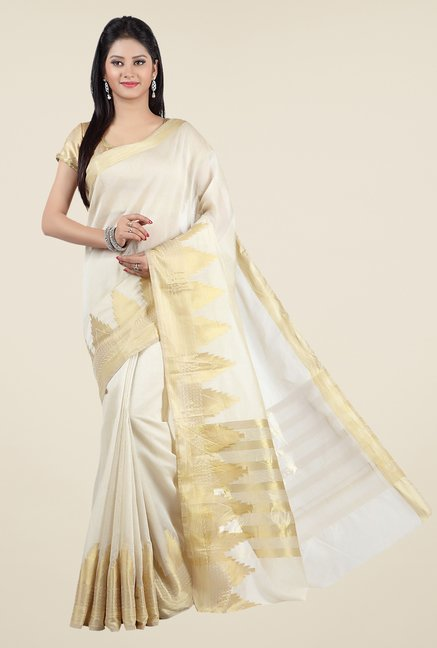 Jashn Cream Solid Saree