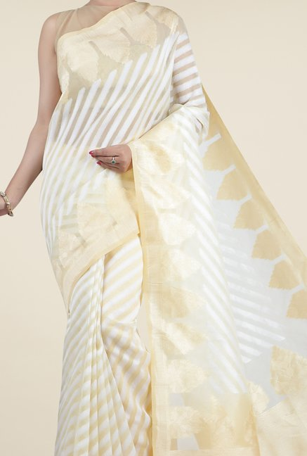 Jashn Beige & Off White Striped Saree