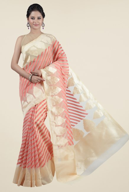 Jashn Beige & Coral Striped Saree