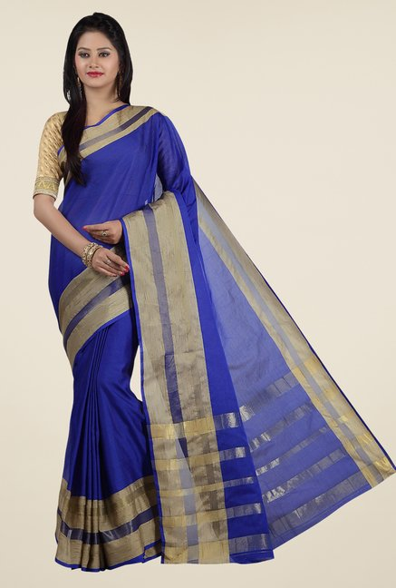 Jashn Royal Blue Solid Saree