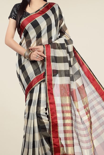 Jashn White & Black Checks Saree