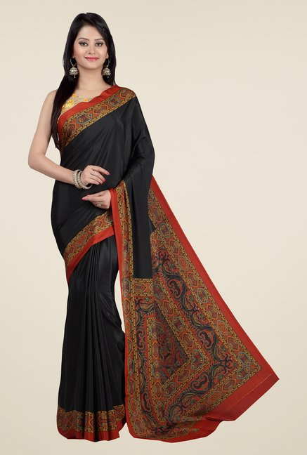 Jashn Black Printed Saree