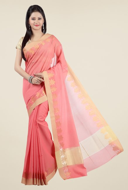 Jashn Peach Printed Saree