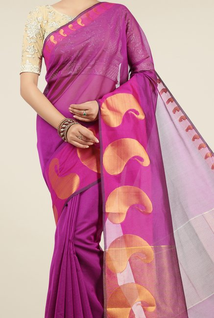 Jashn Purple Paisley Print Saree