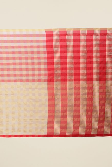 Jashn Beige & Red Checks Saree