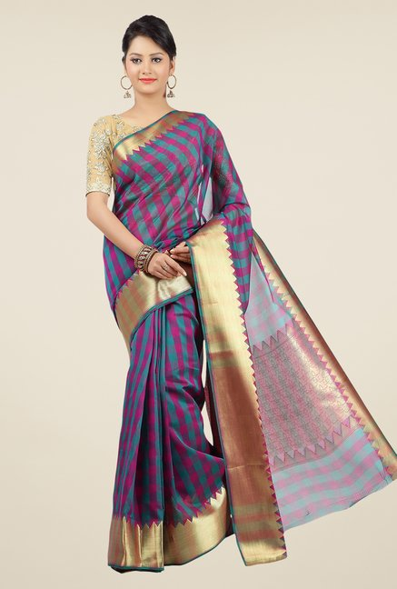 Jashn Teal & Magenta Checks Saree