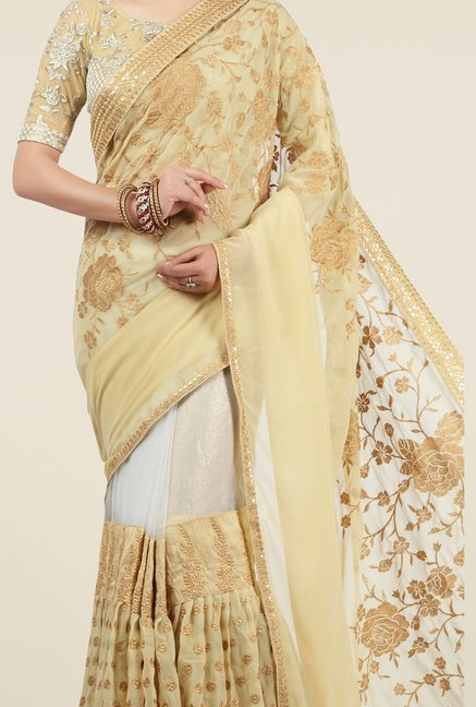 Jashn Beige & White Embroidered Georgette Saree