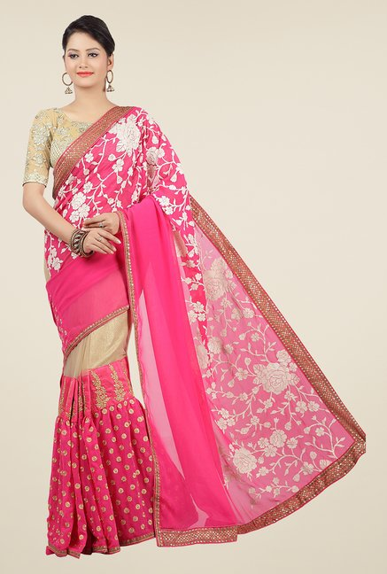 Jashn Pink & Beige Embroidered Georgette Saree