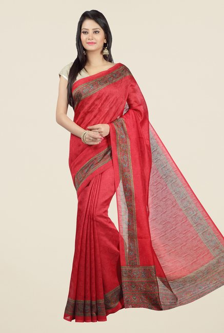 Jashn Red Self Printed Jacquard Saree