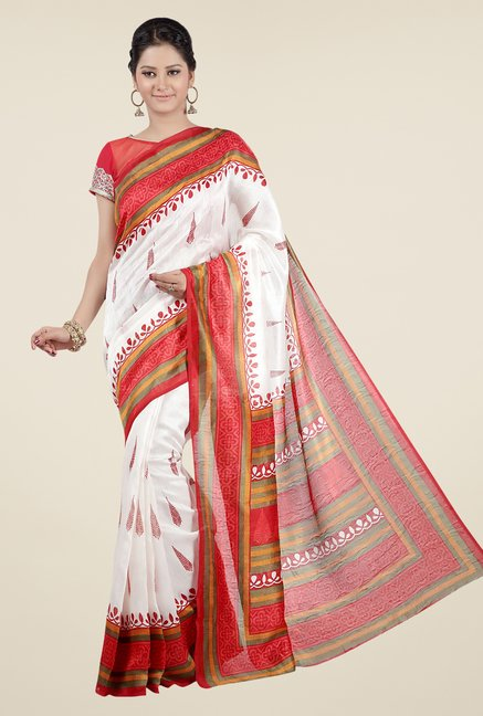 Jashn White and Red Printed Jacquard Saree