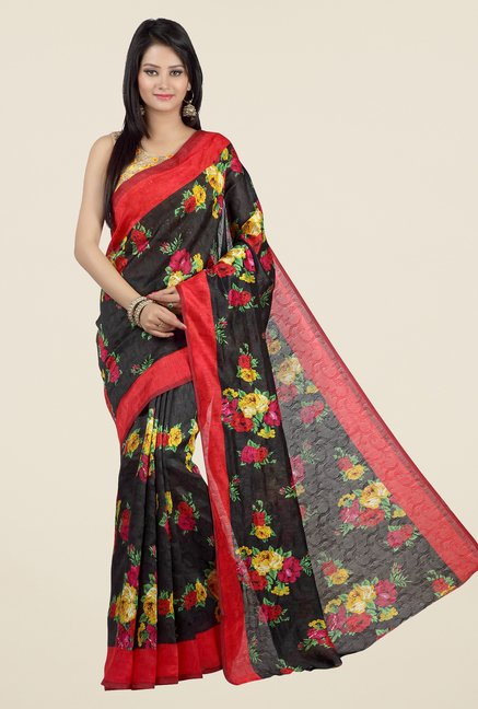 Jashn Black and Red Floral Print Jacquard Saree