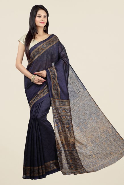 Jashn Navy Self Printed Jacquard Saree