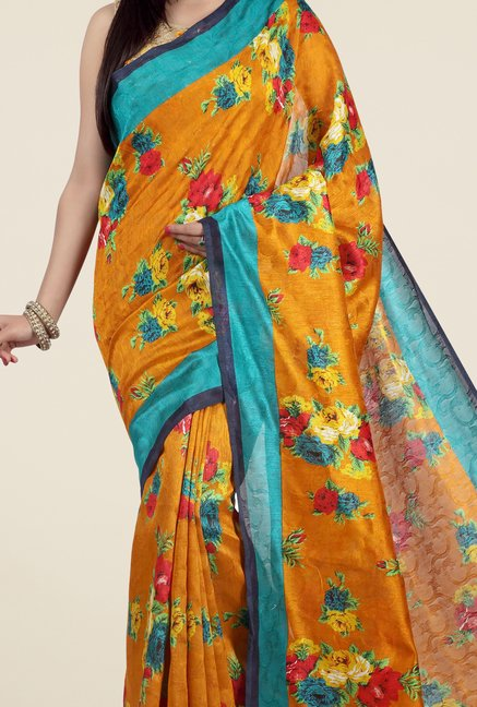 Jashn Mustard and Teal Floral Print Jacquard Saree