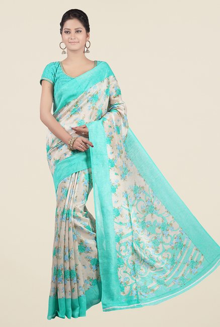 Jashn Beige and Turquoise Floral Print Jacquard Saree