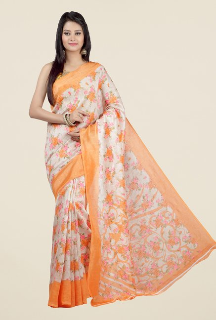 Jashn Beige and Peach Floral Print Jacquard Saree