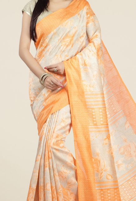Jashn Orange Floral Print Jacquard Saree