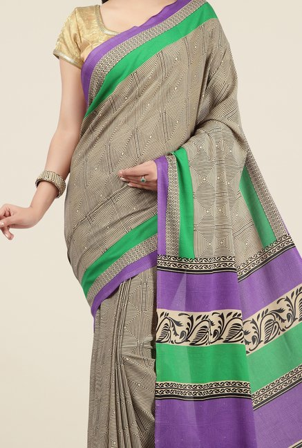 Jashn Beige and Green Geometric Print Saree