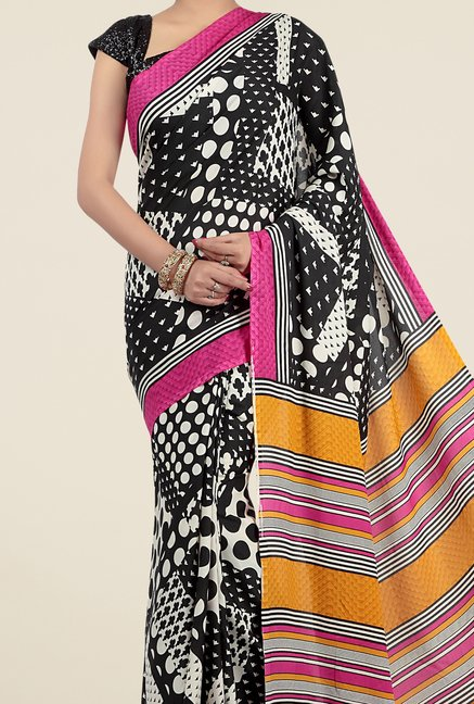 Jashn Black and Mustard Geometric Print Saree