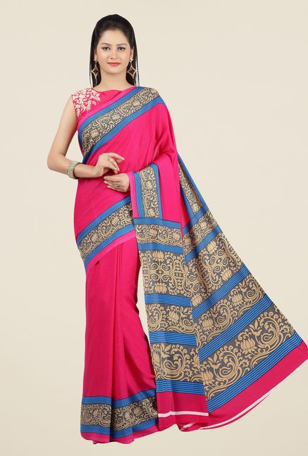 Jashn Pink and Blue Printed Saree