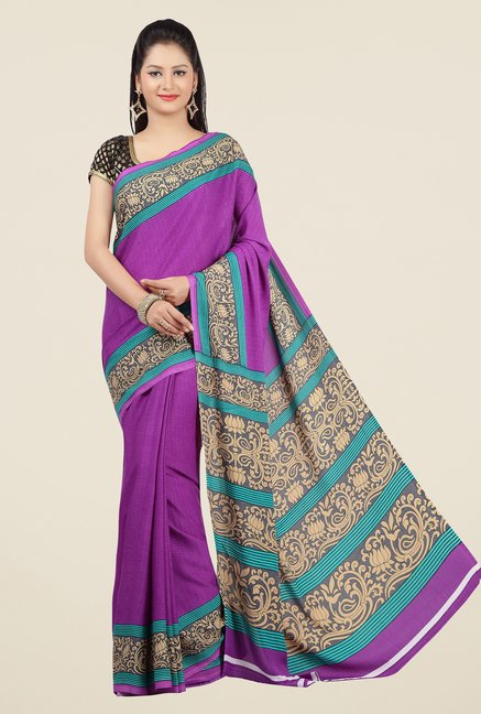 Jashn Purple and Teal Printed Saree