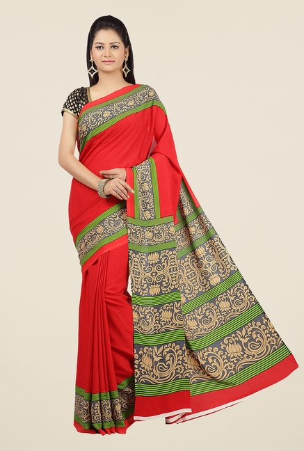 Jashn Red and Green Printed Saree