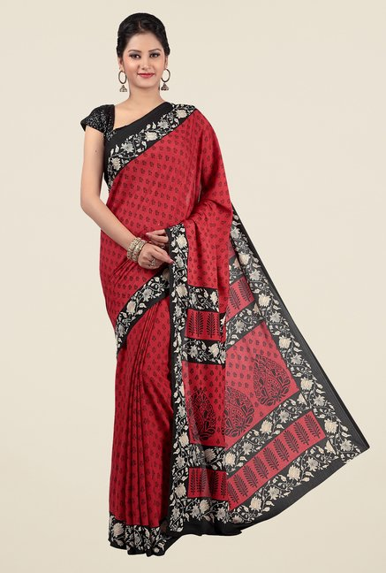 Jashn Red Printed Saree