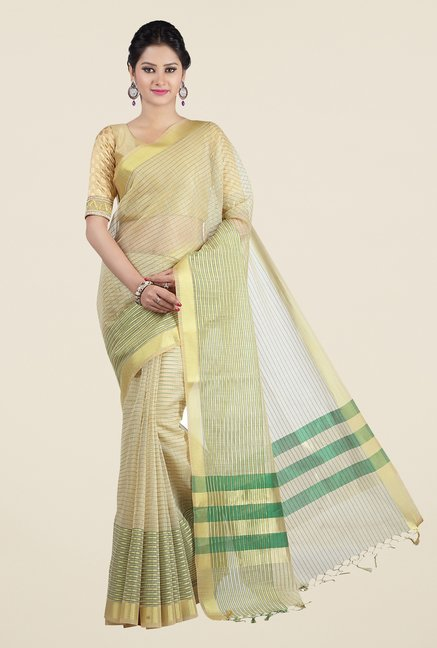 Jashn Beige & Green Striped Saree