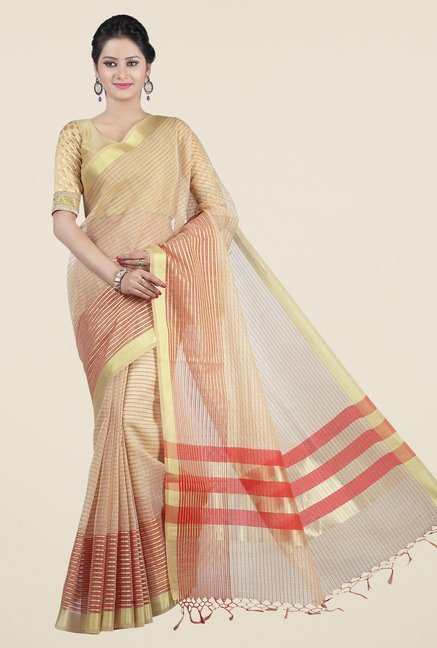 Jashn Beige & Red Striped Saree