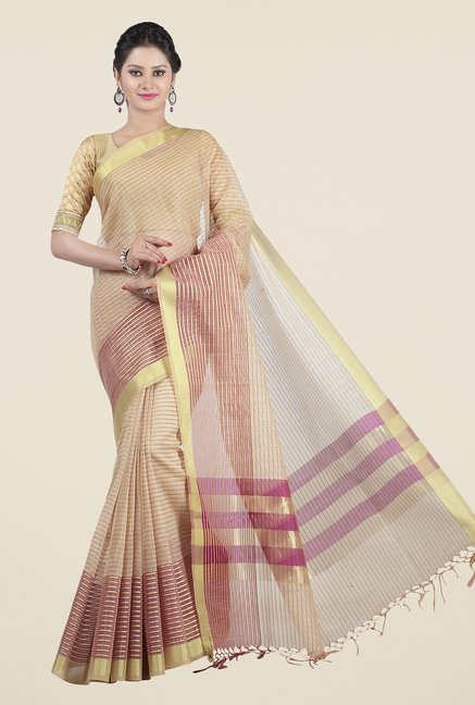 Jashn Beige & Wine Striped Saree