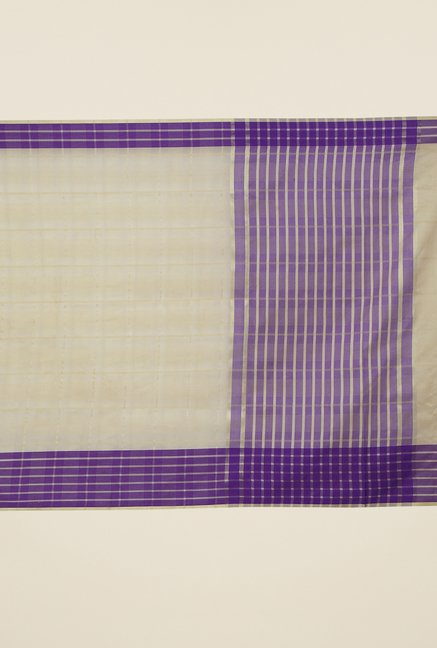 Jashn Beige & Purple Checks Saree