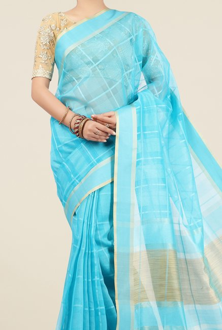 Jashn Turquoise Checks Saree