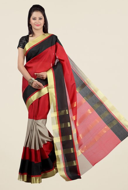 Jashn Red & Grey Striped Saree