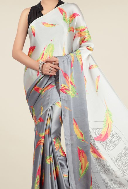 Jashn Grey & Off White Printed Saree