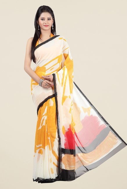Jashn White & Mustard Printed Georgette Saree