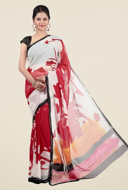 Jashn White & Red Printed Georgette Saree